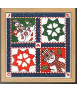 Holiday Ceramic Tile Trivet Snowman Quilt Pattern - $7.99