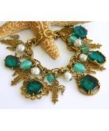 Vintage Charm Bracelet Glass Intaglio Cameo Chu... - $84.95