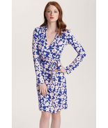 DIANE von FURSTENBERG NEW JEANNE TWO BURMA ROSE SMALL BLUE DRESS - US 12 - UK 16 - $303.81