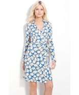 DIANE von FURSTENBERG NEW JEANNE TWO CORAL LEAVES SMALL BLUE DRESS - US 10 -UK12