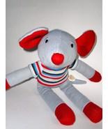 Dan Dee Sock Monkey Style Knitted Mouse Grey Re... - $12.50