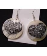 Heart tattoo design pearl tone shell earrings - $6.40