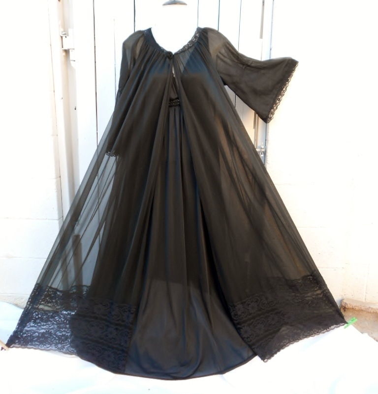 "Vintage Lingerie Gold Label Black Chiffon Peignoir 275"" Sweep Nightgow Negligee"