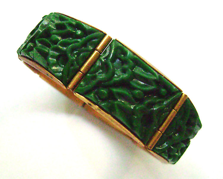 Art Deco Green carved  Celluloid wide hinged bracelet signed  A.S 1930's
