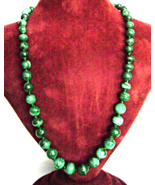 Vintage Russian Malachite Long Necklace Hand Cu... - $43.00