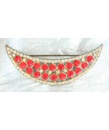 Fabulous Apex Art Deco Red & Crystal Rhinestone... - $34.95