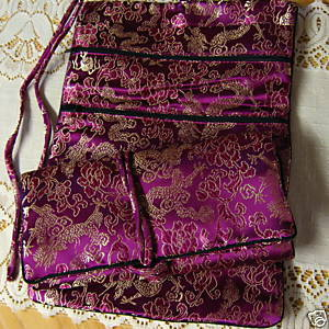 Magenta Gold Thread Dragon Pattern Silk Brocade Jewelry Roll