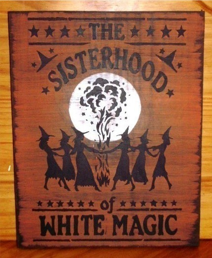 Sisterhood of White Magic Primitive Witch Sign Wicca Pagan Witchcraft Halloween