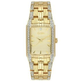 Elgin Mens Crystal Accent Goldtone Solidlink Quartz Watch