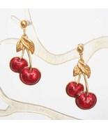 Avon Art Moderne Enamel Cherry Earrings - $14.95