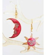 Enchanting Real Cloisonne Enamel Red Sun & Moon... - $14.95