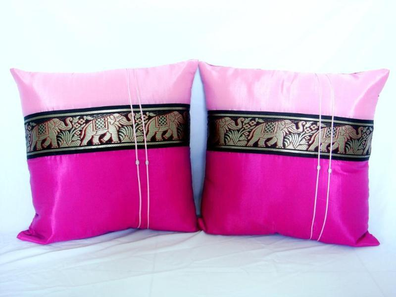 Pair of Thai Silk Big Elephant Cushion Pillow Cover Sofa