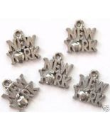 5 New York Big Apple Pewter Charms Wholesale Lot - $4.99
