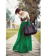 Spring Summer Vivid Green Chiffon Maxi Skirt. L... - $64.90