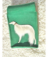 VINTAGE FURRY WHITE AFGHAN HOUND ON GREEN SUEDE... - $20.00