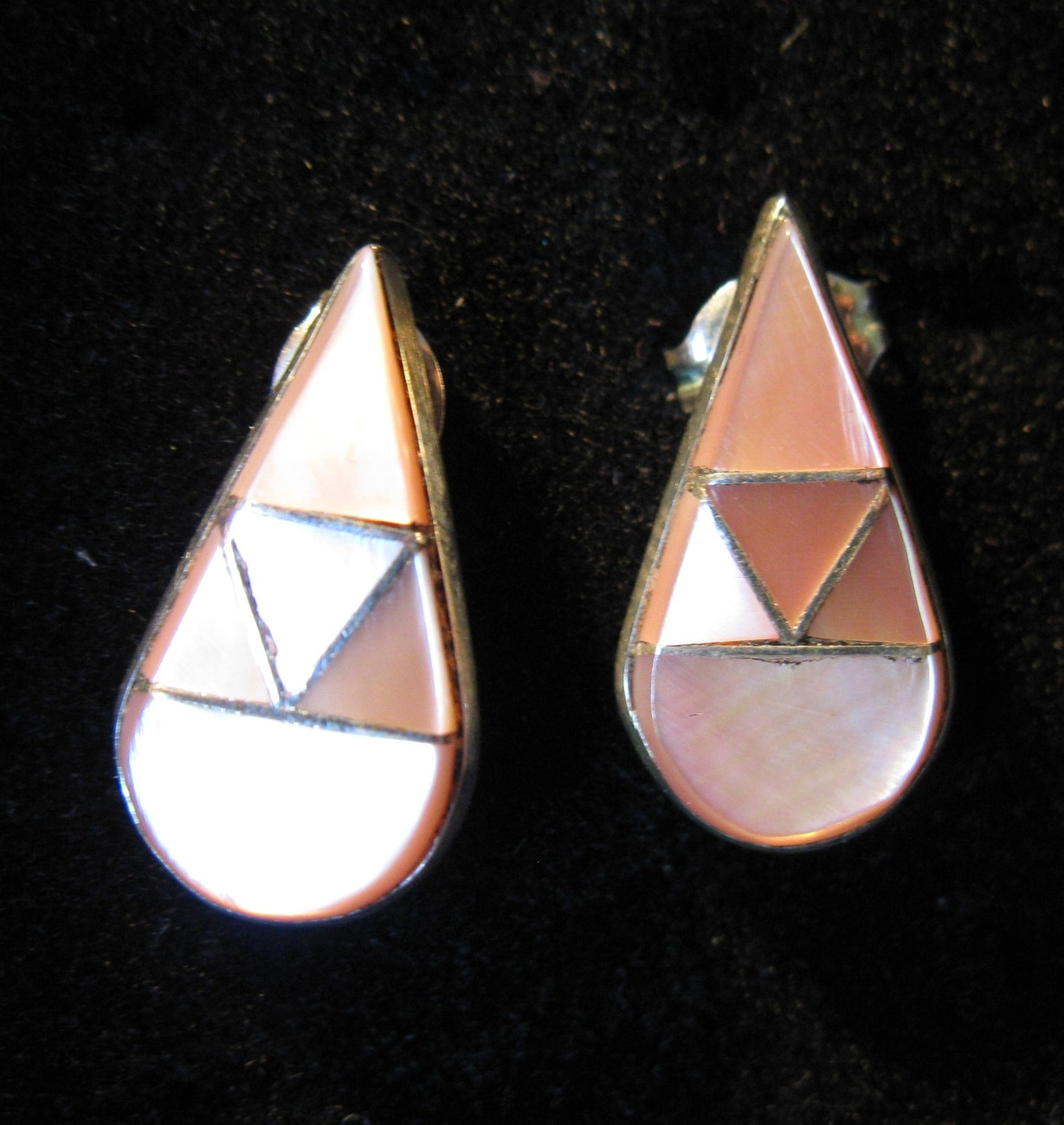 EARRINGS PINK MOTHER OF PEARL INLAY STERLING SILVER PIERCED #27