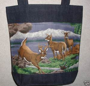 NEW Handmade Med Deer Wildlife Denim Tote Bag