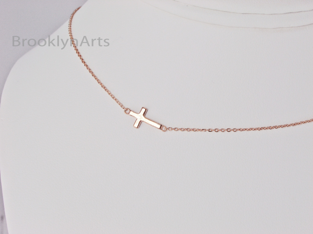 Rose Gold Sideways Cross Necklace - petite - Kelly Ripa