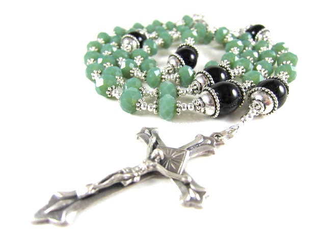 Green Crystal Rosary with Black Onyx and Silver Accents
