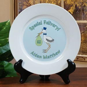 Buy gifts birth announcements - Personalized New Baby Boy Creamic Plate Gift Birth Announcement Keepsake Plate