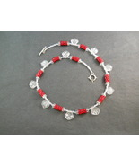 Red Beaded Bead Necklace With Frosted White Dan... - $80.00