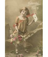 Edwardian Young GIRL Flower Basket FRENCH postc... - $9.99