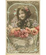 Edwardian Young GIRL Flowers Bonne FETE PARIS p... - $9.99