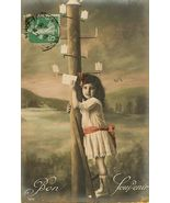 Edwardian SWEET Young GIRL PARIS postcard P137 - $9.99