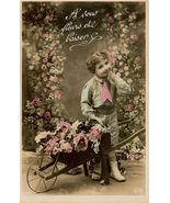 Edwardian SWEET Young BOY Flowers PARIS postcar... - $9.99