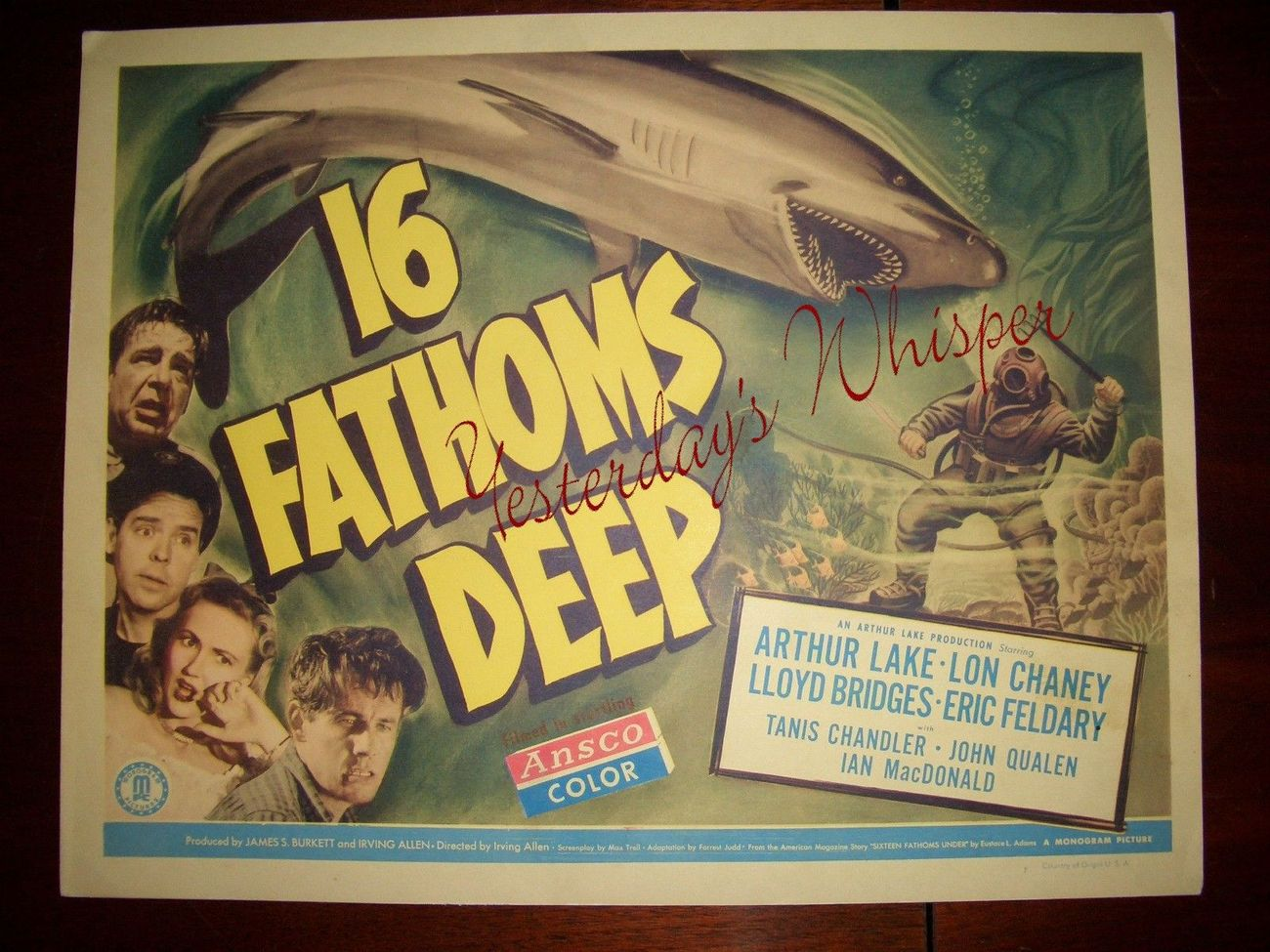 Lon CHANEY Jr. 16 FATHOMS Deep ORG 1948 Lobby CARD
