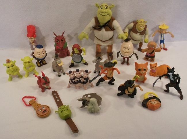 Large Lot of Dreamworks Shrek PUSS IN BOOTS fiona donkey gingy toys figures B