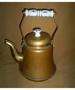 Vintage Tea Kettle With Delf Porcelain Handle, ... - $10.00