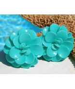Vintage Lucite Plastic Flower Earrings Turquois... - $16.95