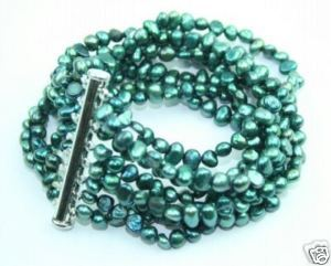 ELEGANT IN 8 STRAND CULTURED TEAL PEARL BRACELET