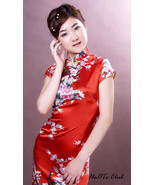 Red Peacock Pattern Chinese Lady Mini Dress Cheongsam-20 Size M/L/XXL Avilable