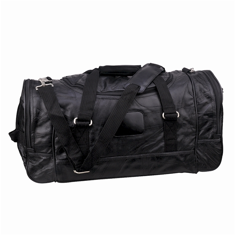 "21"" Leather Duffle Bag  Black"