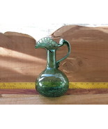 GREEN CRACKLE GLASS PITCHER, VASE, SOME REAL ST... - $25.00