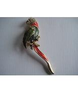 Vintage Goldtone Parrot Green & Red Brooch  - $16.20