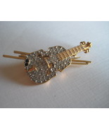 Gold Plated Violin Brooch With Crystals by Fift... - $14.58