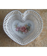Vintage Porcelain Woven Heart Basket Dish  - $27.90