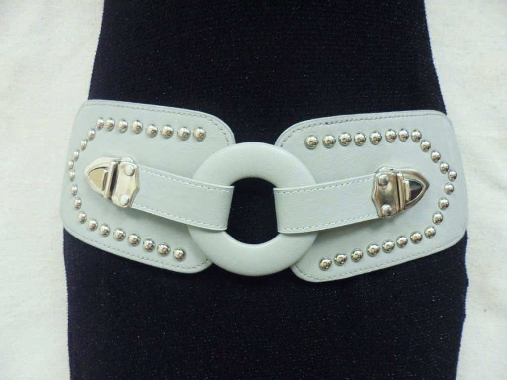 "WOMEN GRAY LEATHER ELASTIC BELT W/ STUDS AND CHIC CIRCLE BUCKLE 31""-42"""