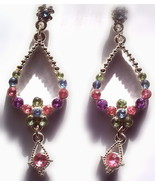 Silver toned and multi color dangle earrings - $2.45