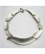 Brushed Silver Tone Collar Necklace, by Trifari. c. 1970s