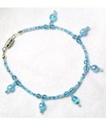 Bracelet Dangle Blue Glass Beads Barrel Clasp - $5.00
