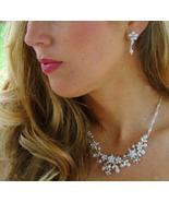 Elegant Floral White Pearl and Crystal bridal J... - $59.00