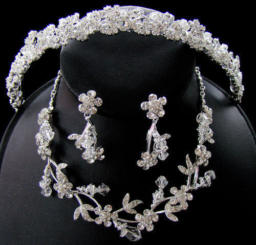 Swarovski Crystal Bridal Tiara Headband  Jewelry Set
