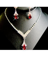 5 Sets! Red Rhinestone Drop Necklace and  Earri... - $112.99