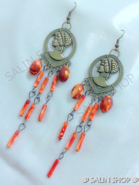 Pastel Orange Beads of Madame Earring ,Dangle, Brass-plated steel Hook