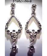 Silver and black teardrop earrings - $2.45