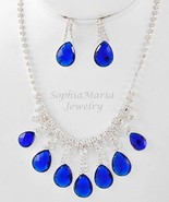 Royal blue tear drop crystal necklace set for p... - $16.82